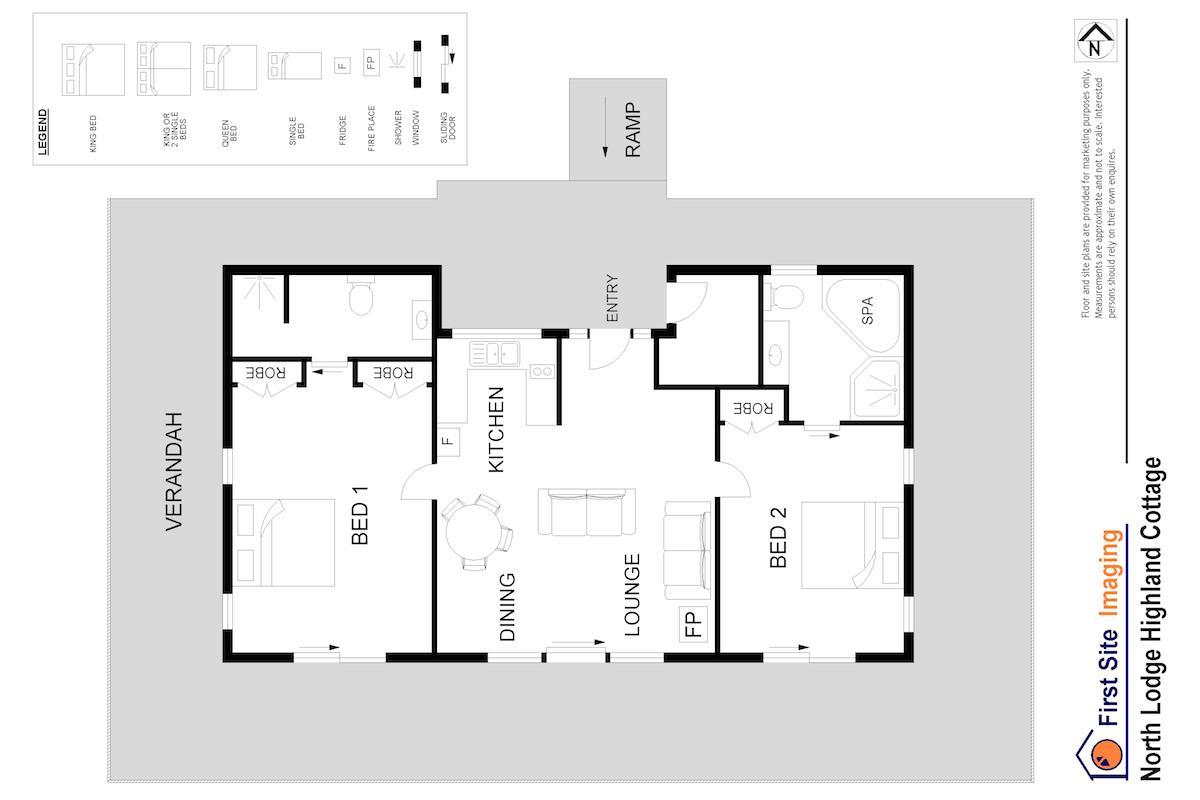 Hunter Valley Accommodation - North Lodge Highland Cottage - Pokolbin - Floor Plan