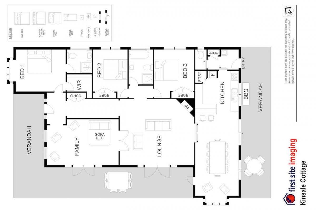 Hunter Valley Accommodation - Kinsale Cottage - Pokolbin - Floor Plan