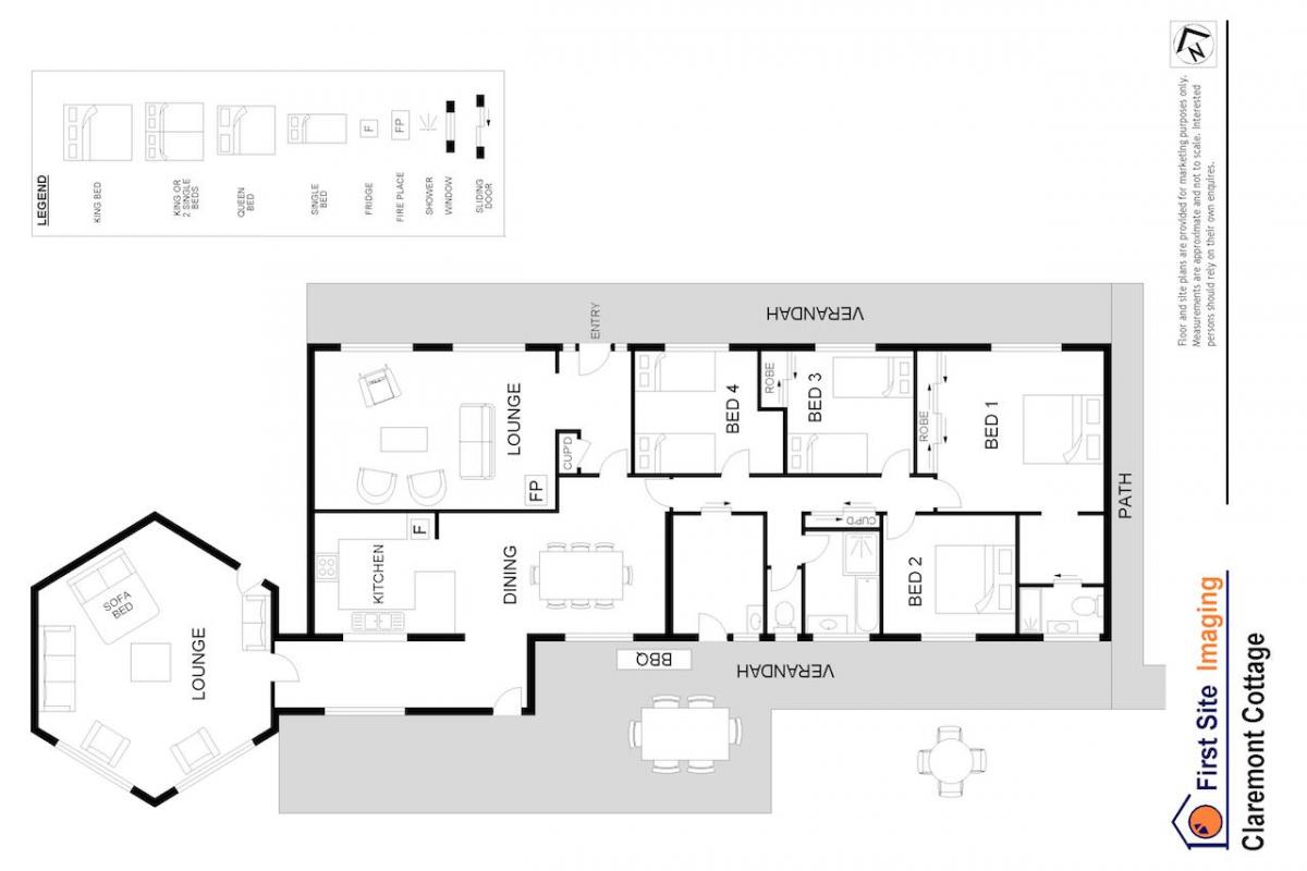Hunter Valley Accommodation - Claremont Cottage - Lovedale - Floor Plan