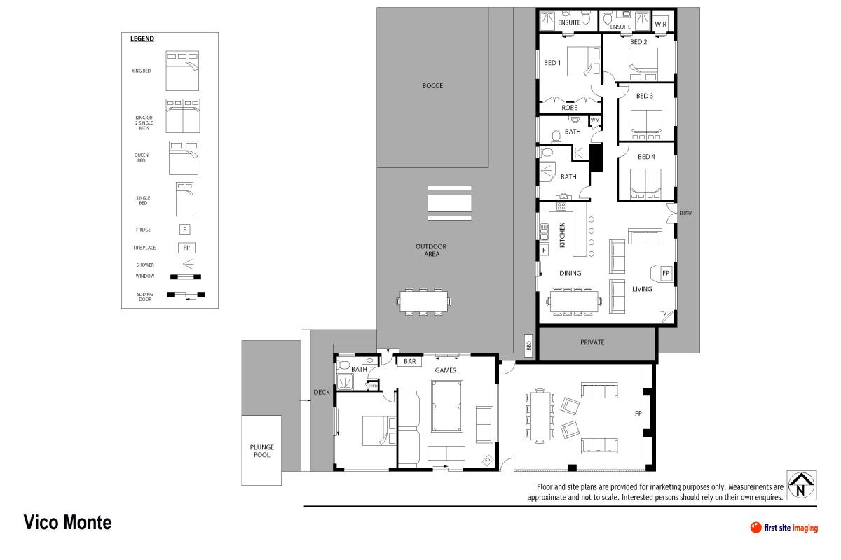 Hunter Valley Accommodation - Vico Monti - Pokolbin - Floor Plan
